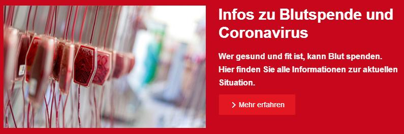 Infos zu Blutspenmde und Coronavirus