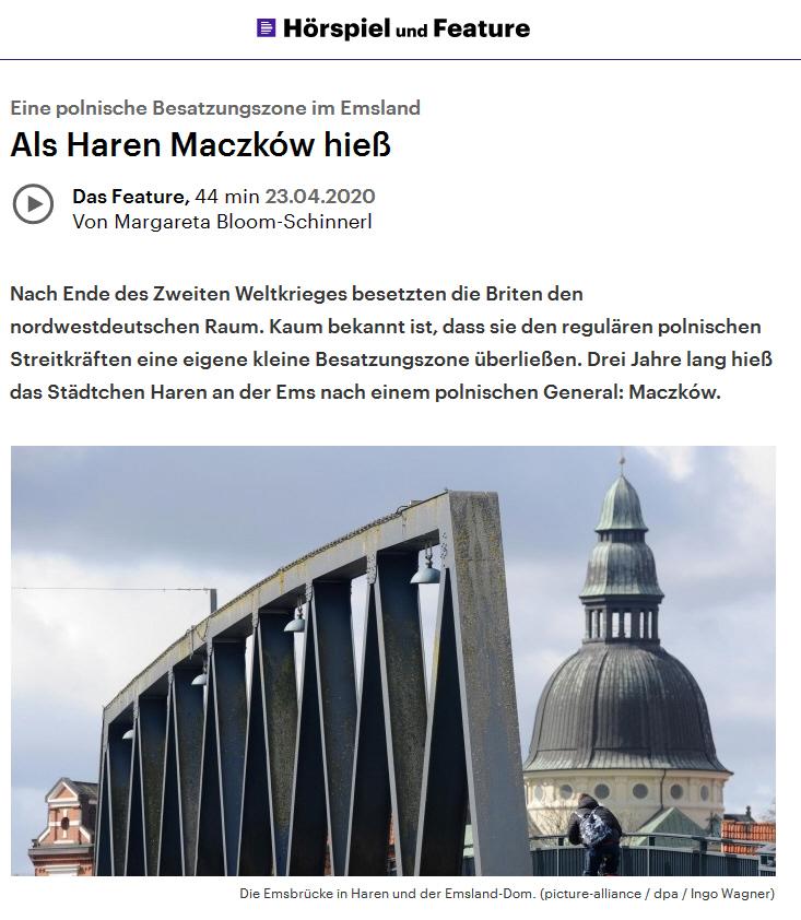 """Link zu Deutschlandfunkkultur """"Als Haren Maczków hieß"""""""