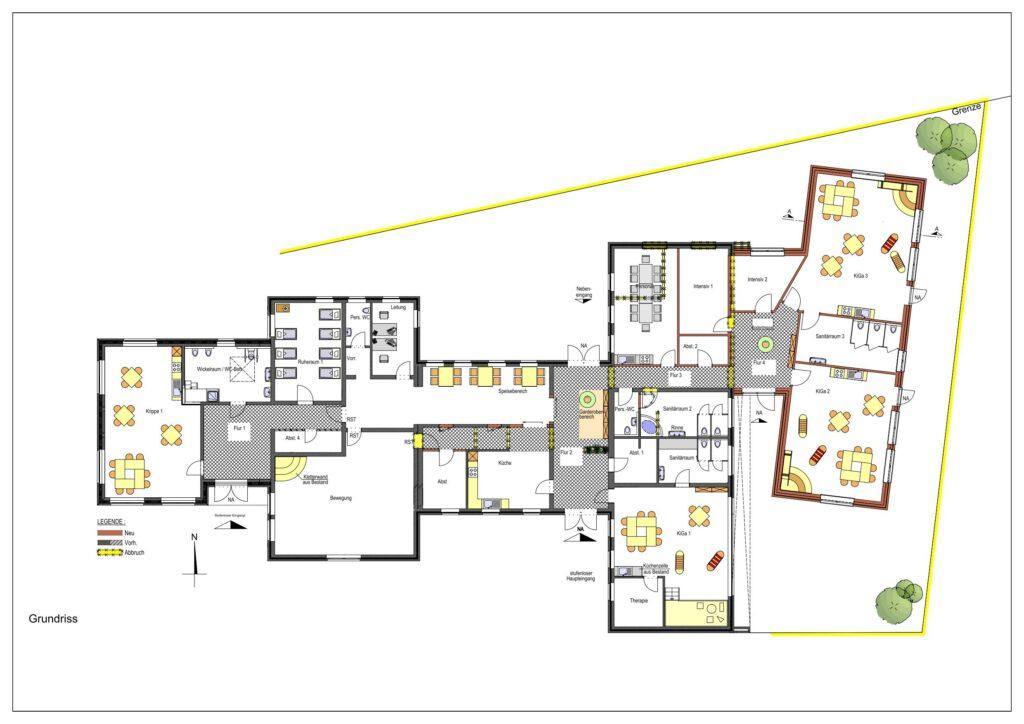 Grundriss Kindergarten Wippingen nach dem Anbau 06/2020