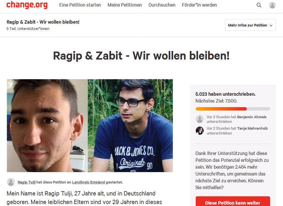 Online-Petition für Ragip und Zabit Tulji