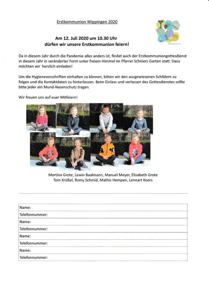 Einladung zur Erstkommunionfeier