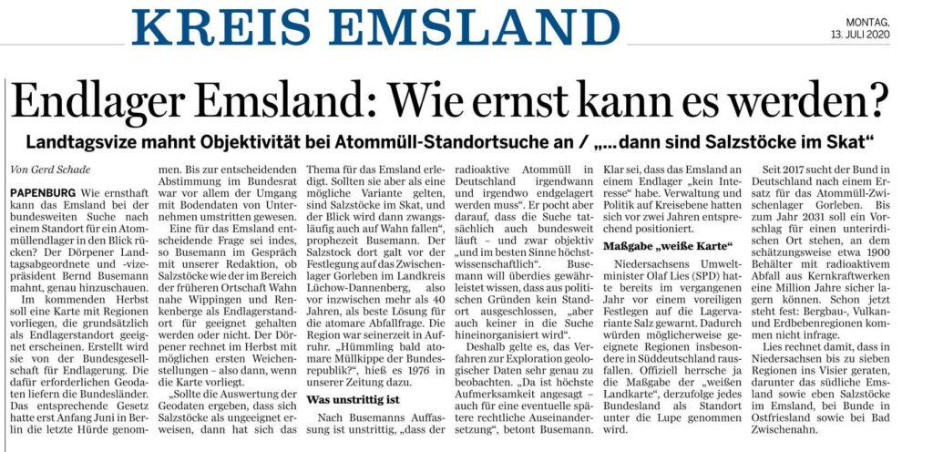 Ems-Zeitung vom 13.07.2020