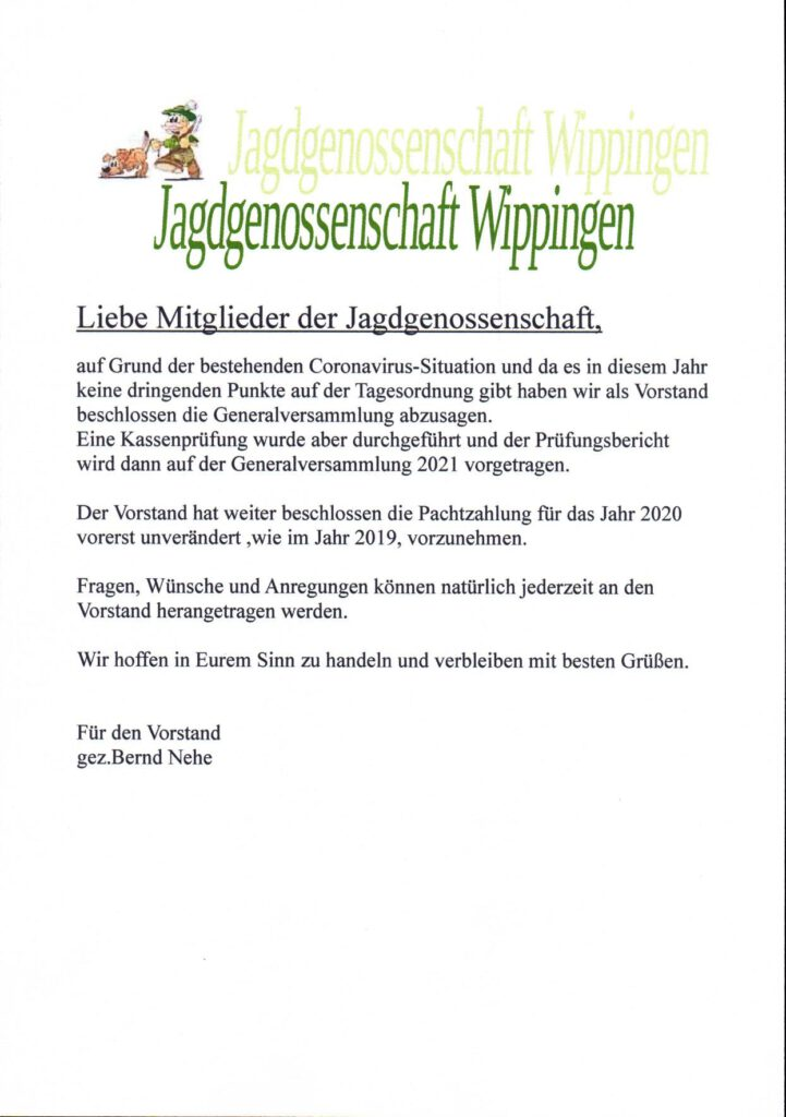 Flyer der Jagdgenossenschaft Wippingen 07-2020