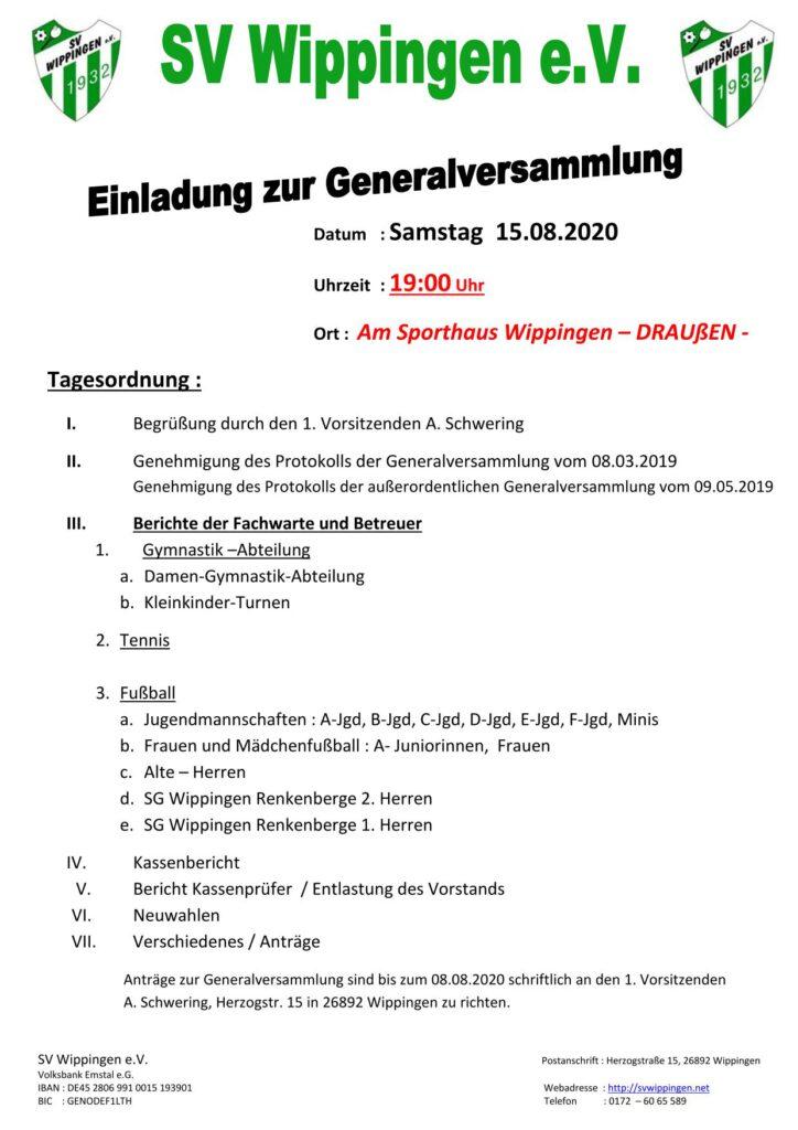 Einladung zur Generalversammlung des SV Wippingen am 15.08.2020