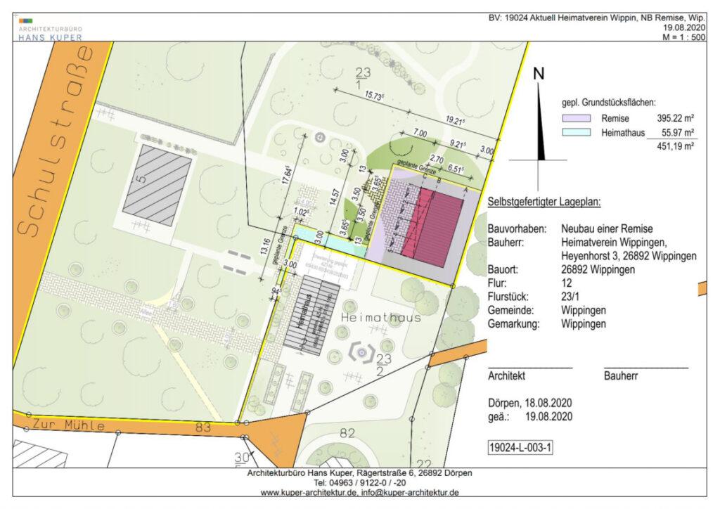 Lageplan der Remise im Pfarrgarten 08/2020