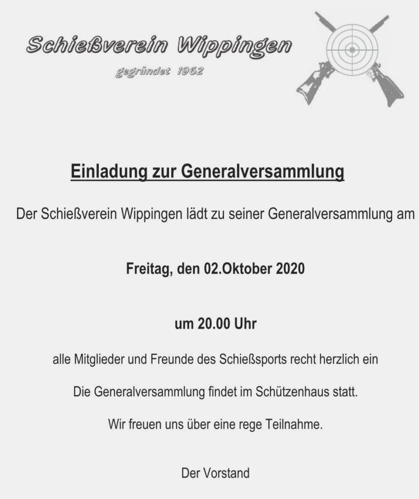 Einladung des Schießvereins 10/2020