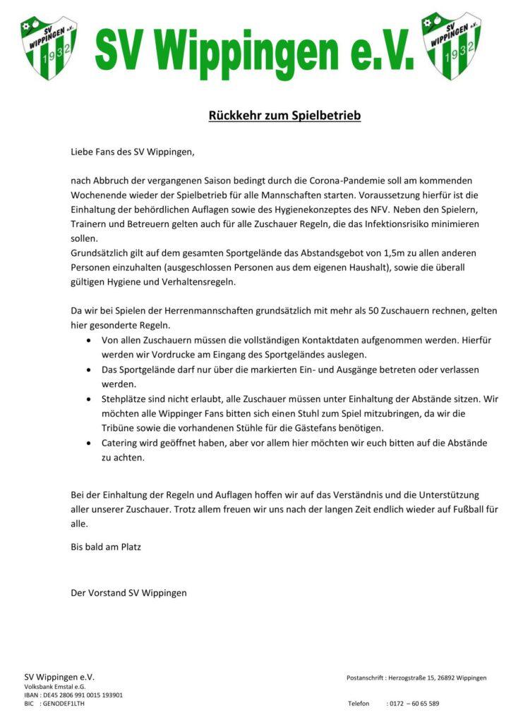 Flyer des SV Wippingen Rückkehr zum Spielbetrieb
