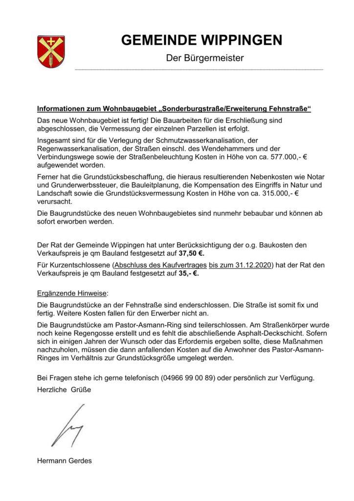 Brief an Gemeinde 10/2020 zum Baugebiet Sonderburg/Fehnstraße