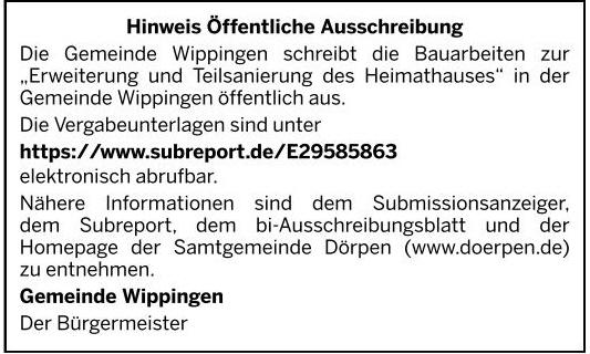 Ausschreibung in der Ems-Zeitung vom 30.10.2020
