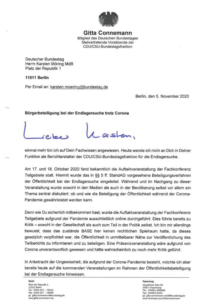 Brief von Gitta Connemann an Karsten Möhring vom 5.11.2020