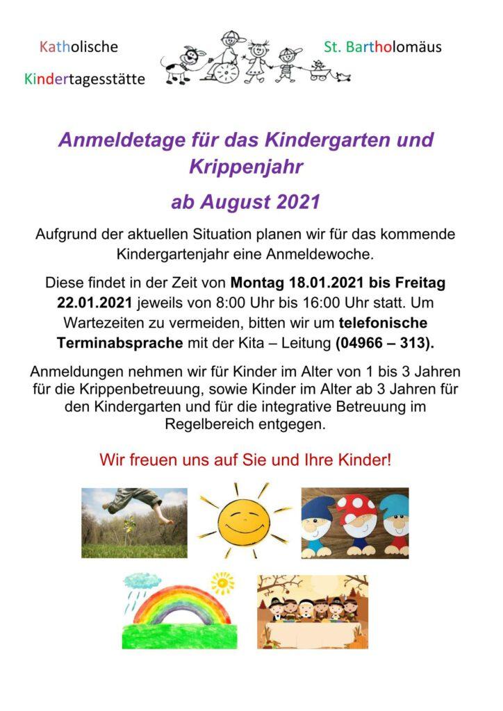 Flyer zur Kindergartenanmeldung 2021