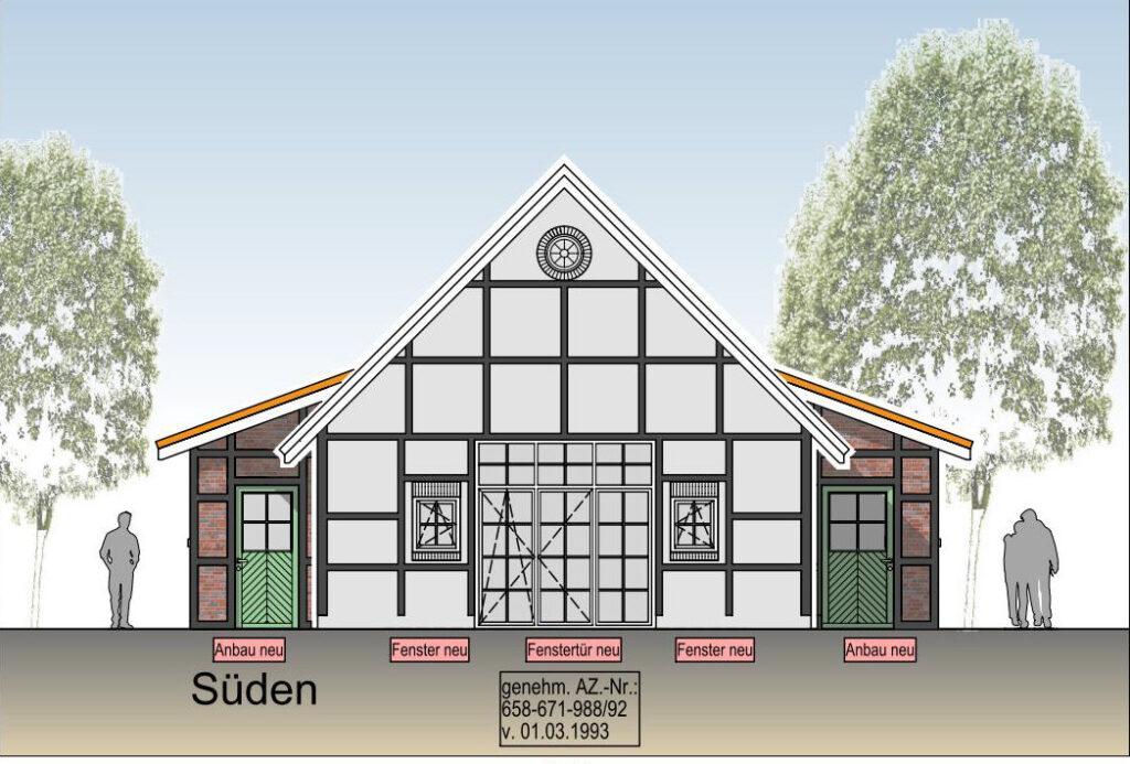 Südansicht des Heimathauses (Plan)