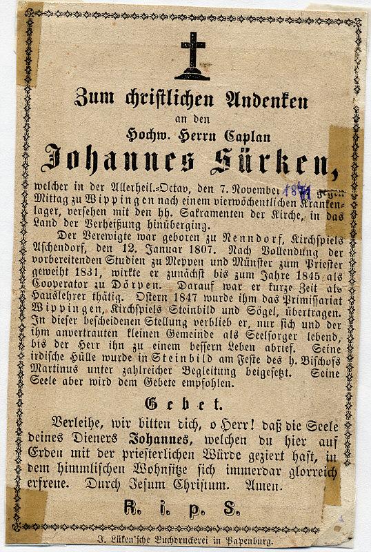 Totenblättchen Johannes Sürken