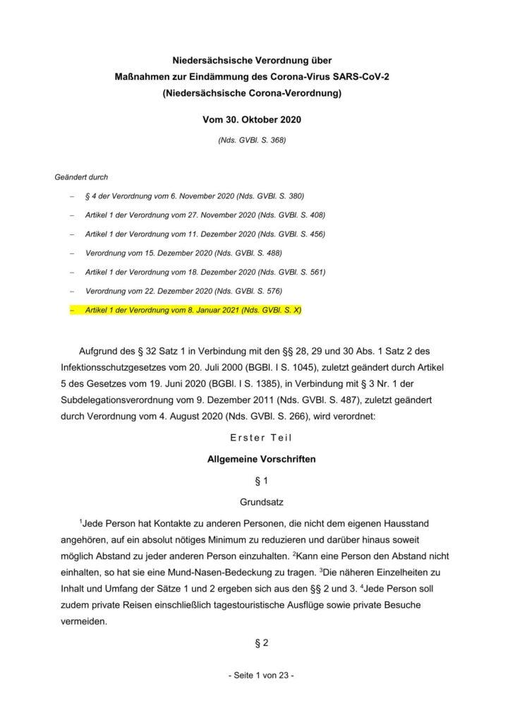 Niedersächsische Corona-Verordnung