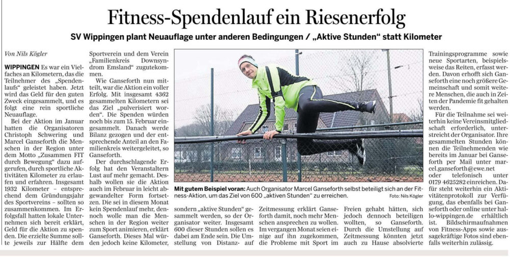 """Artikel in der Ems-Zeitung vom 11.02.2021: Zusammen FIT"""" durch Bewegung des SV Wippingen"""