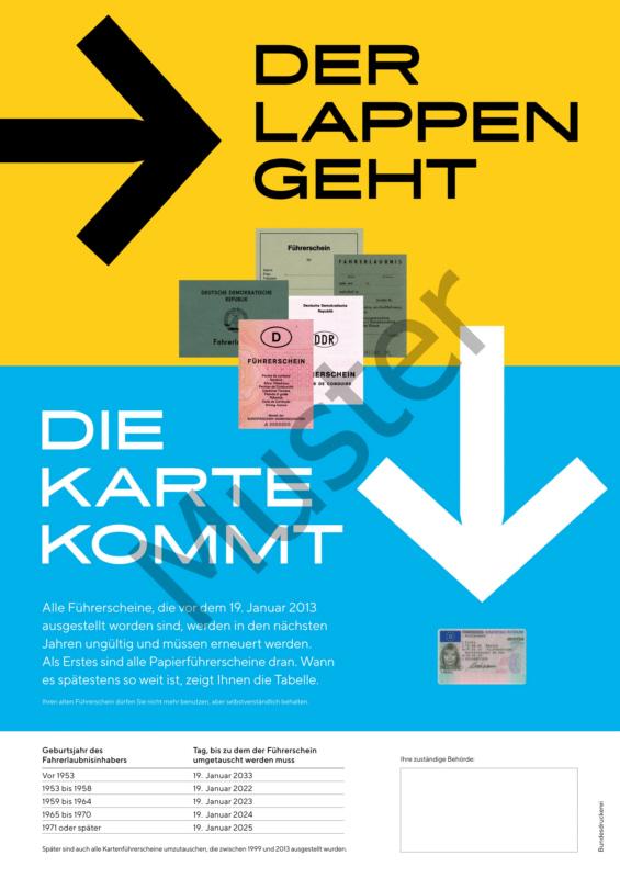 Plakat zum Führerscheinumtausch