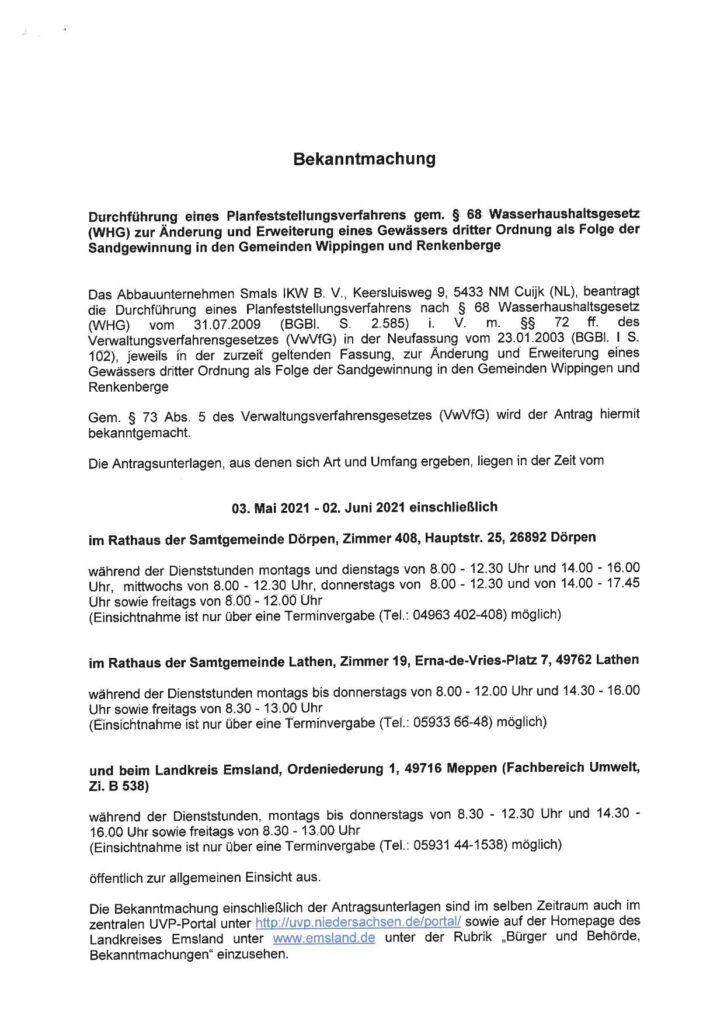 Bekanntmachung Planfeststellungsverfahren Kiesgrube Wippingen