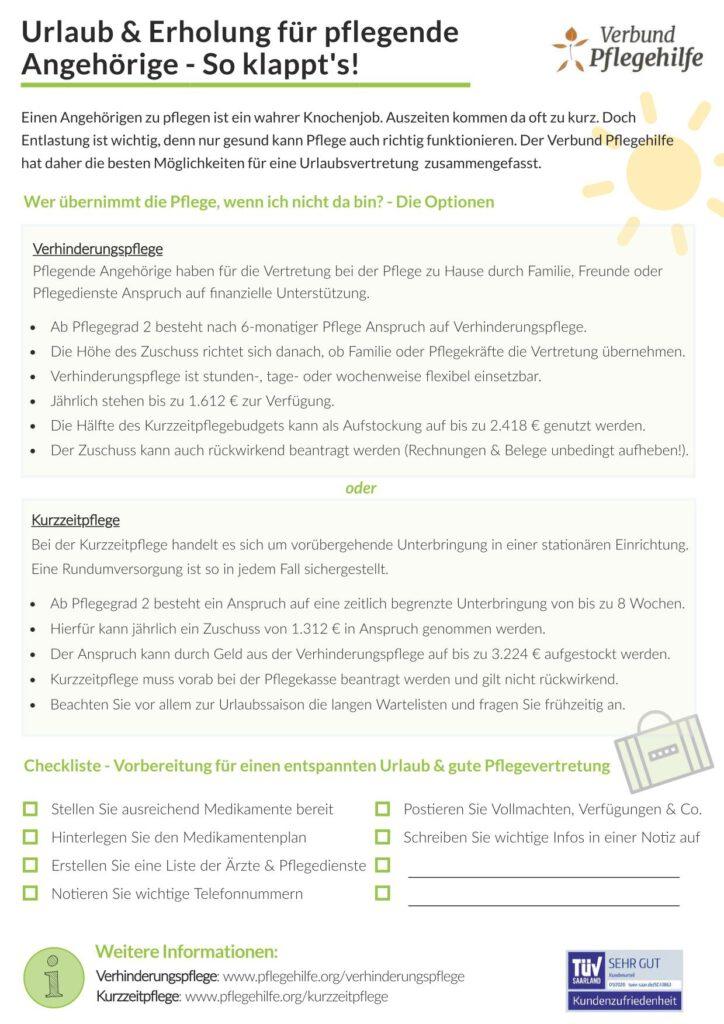Flyer Verbunf Pflegehilfe über Kurzzeitpflege und Verhinderungspflege