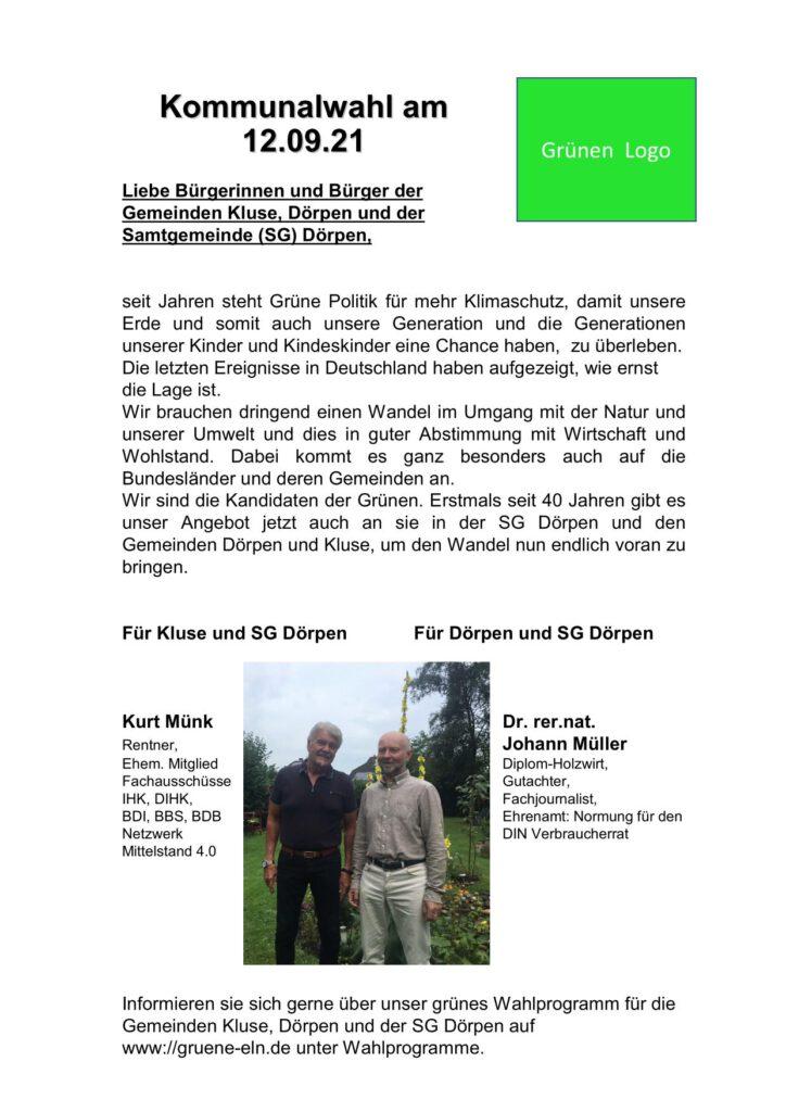 Wahlflyer der Grünen für die Kommunalwahl 2021