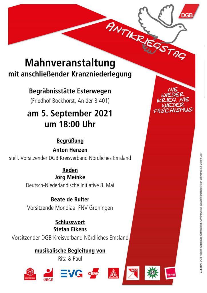 Flyer des DGB zur Mahnveranstaltung zum Antikriegstag 2021 in Esterwegen
