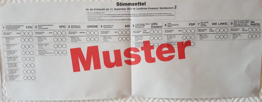 Musterstimmzettel Kreistag