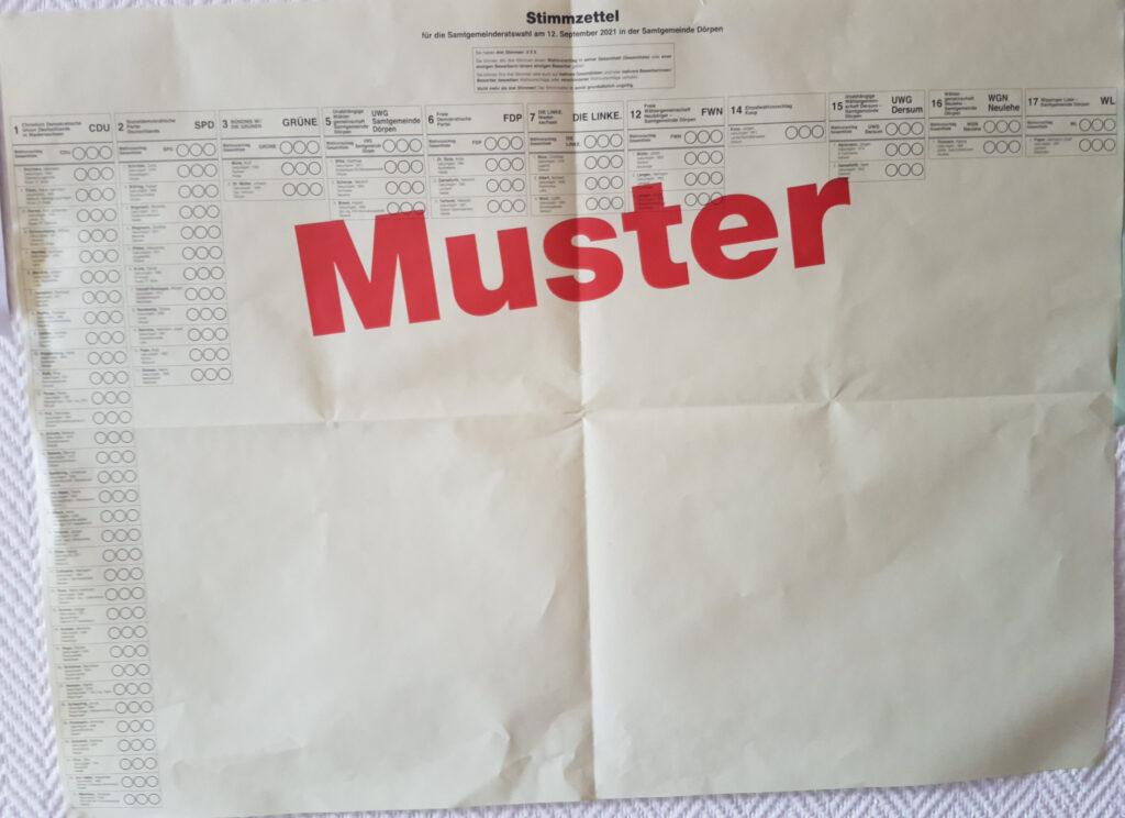 Musterstimmzettel Samtgemeinderat