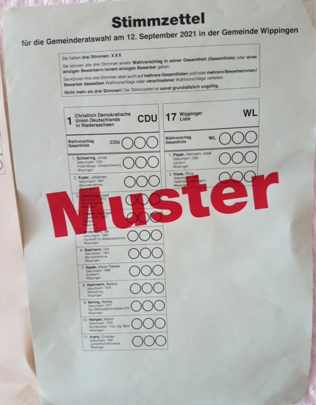 Musterstimmzettel Gemeinderat